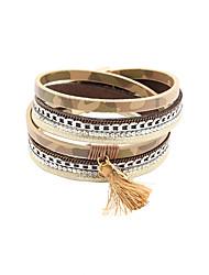 Bracelet Charmes pour Bracelets / Bracelets Wrap / Bracelets en cuir Alliage / Cuir / Strass Gland / Mode / Vintage / Style PunkSoirée /