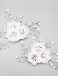 Femme Jeune bouquetière Strass Alliage Mousseline Casque-Mariage Occasion spéciale Fleurs 2 Pièces