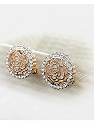 Noble and Elegant Style of Peony Circular Hollow Diamond Lady Earrings