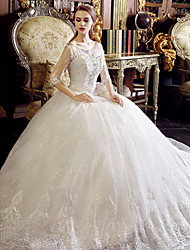 A-line Wedding Dress Floor-length Scoop Tulle with Appliques / Beading / Crystal / Ruffle