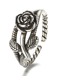 Men's Women's Band Rings Fashion Adjustable Costume Jewelry Silver Sterling Silver Flower Rose Jewelry For Daily Casual