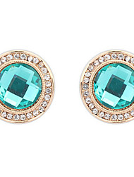 Fine Fashion Round Emerald Crystal Earrings Dinner Accessories