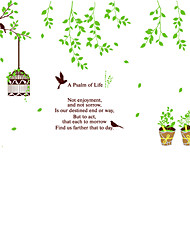 Green Woods Potted Plant Birds Wall Stickers DIY Removable Living Room Bedroom Wall Decals