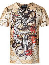 Tee-shirt Hommes,Imprimé Décontracté / Quotidien Grandes Tailles Manches Courtes Coton Spandex