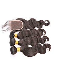 Brazilian Virgin Hair With Closure Brazilian Human Hair Weave 3 Bundles Brazilian Body Wave With Lace Closure