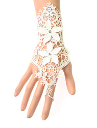 White Wrist Length Fingerless Glove Lace Bridal Gloves / Party/ Evening Gloves(1pc)