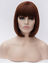 Best-selling Europe And The United States  A Wig Dark Brown Neat Bang BOBO Head Wig