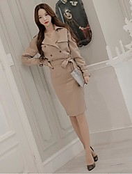 Women's Solid White / Yellow Trench Coat,Simple Long Sleeve Polyester