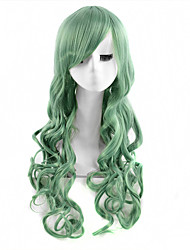Capless Long Wave Green Color Cosplay Synthetic Wig