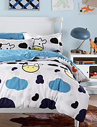 4PC Duvet Cover Set  Fresh Style Cotton Pattern Queen King Size Cartoon Cow