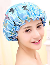 Blue Colorful Printed Soft Satin Fabric Shower Caps Waterproof Spa Bath Elastic Hat Cap  Household For Women