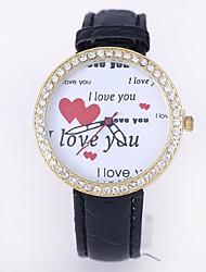 дамы часы алмазов циферблат кожаный часы (ассорти цветов)