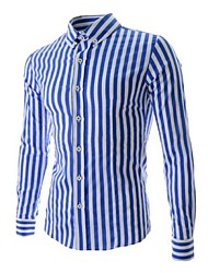 Men's Long Sleeve Shirt,Cotton Casual / Work Striped