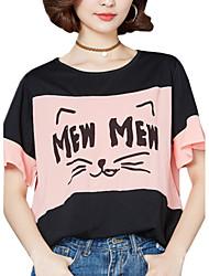 Mulheres Camiseta Casual Moda de Rua Verão,Estampado Rosa / Branco Algodão / Poliéster / Elastano Decote Redondo Manga Curta Média