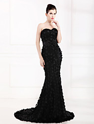 Formal Evening Dress Trumpet / Mermaid Strapless Sweep / Brush Train Satin / Tulle / Stretch Satin with Appliques