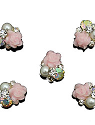 10er Perle rosa Rose Blume 3d Strass DIY Zubehör Nagelkunstdekoration