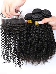 7A Grade Slove Hair Products Brazilian Kinky Curly Hair Extensions 4pcs Afro Kinky Curly Bundles with Lace Closure