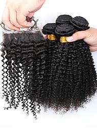 Trame cheveux avec fermeture Cheveux Brésiliens Très Frisé 12 mois 5 Pièces tissages de cheveux
