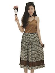 2016 Summer New Women Retro Chiffon Skirts + Vest / Suit