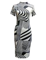 Women's Vintage Print Sheath Dress,Crew Neck Knee-length Polyester