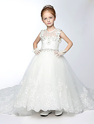 Ball Gown Court Train Flower Girl Dress - Tulle Sleeveless Jewel with