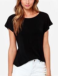 Women's Sexy/Casual Inelastic Short Sleeve Regular T-shirt (Cotton Blends)