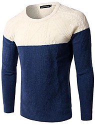 Men's Patchwork Pullover,Cotton Long Sleeve