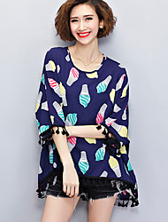 Women's Casual/Daily Boho / Cute Summer Blouse,Print Round Neck ¾ Sleeve Blue Cotton Sheer