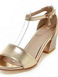 Women's Shoes Leatherette Chunky Heel Peep Toe Sandals Outdoor / Office & Career / Dress Pink / Silver / Gold