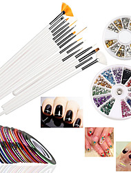 15 pcs Nail Art Brushes 12 Colors Nail Art Stickers 30 colors Nail Tape and 3D Nail Art Manicure Wheel with  Metal Studs