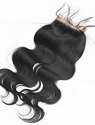 Noir Naturel (#1B) Ondulation naturelle Cheveux humains Fermeture Brun roux Dentelle Suisse gramme Cap Taille