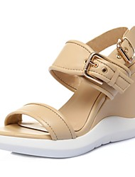 Women's Shoes Calf Hair Wedge Heel Wedges Sandals Office & Career / Party & Evening / Dress Black / White / Almond