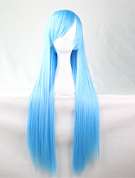 Europe And The United States The New Blue Color Wig 80 CM Wide Water Long Straight Hair Wig