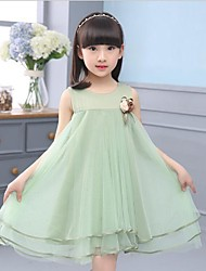 Girl's Green / Purple Dress,Solid Polyester Summer