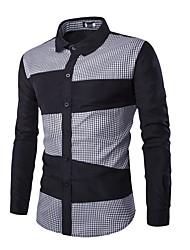 Men Long Sleeve Shirt Men Long Sleeve Plaids Patchwork Shirt Men Dress Shirt for Business