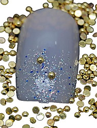 100PCS Half Round Golden Metal Rivet Nail Art Decoration