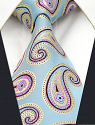 Men's100% Silk  Tie Blue Paisley Fashion