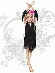 Latin Dance Children's Performance V Neck Spandex Sequins / Tassel(s) Dresses
