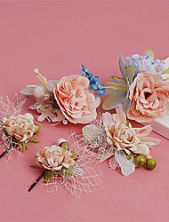 Mulheres Liga / Tecido Capacete-Casamento / Ocasião Especial / Ao ar Livre Flores / Clip para o Cabelo 5 Peças