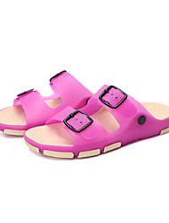 Feminino-Sandálias-Conforto / Plástico-Rasteiro-Azul / Marrom / Vermelho-Silicone-Casual