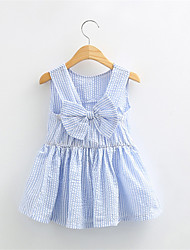 2016 New Summer Kids Toddler Girls Blue and White Stripes Princess Dress Sleeveless Ruffle Dress with Bow Top Quality