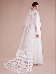 Wedding Veil One-tier Chapel Veils Cut Edge Tulle Ivory