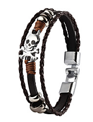 High Quality PU Leather Super Shining Zinc Alloy Skull Skeleton Men's Multi-layer Bracelet