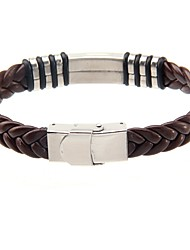 Cool Man Leather Bracelets Titanium Steel Charm Design Bangles for Men