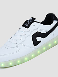 Women's LED Shoes USB Charging  Fashion Sneakers Outdoor / Athletic / Casual Black / Black and Red / Black and White