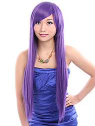 24 inch Cosplay Women Long Straight Purple Synthetic Hair Wig Side Bang with Free Hair Net