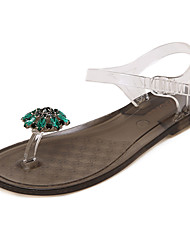 Women's Shoes Silicone Flat Heel Jelly Sandals Dress / Casual Black / White / Gray