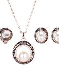 Joyas Collares / Pendientes / Argollas 3 piezas Boda / Fiesta / Diario Legierung / Perla Artificial / Brillante / Rosa Oro Plateado 1 Set