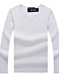 Hot Sale New Spring High-Elastic Cotton T-Shirts Men's Long Sleeve V Neck Tight T-Shirt
