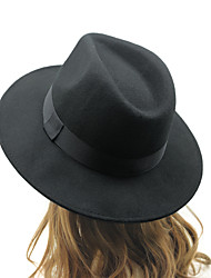 Unisex Cotton British Retro Jazz Hat Fashion Pure Color Bow Large Brimmed Hat
